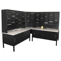 Mailroom Corner Organizer with Riser, Enclosed Cabinets, 84 Fixed Pockets