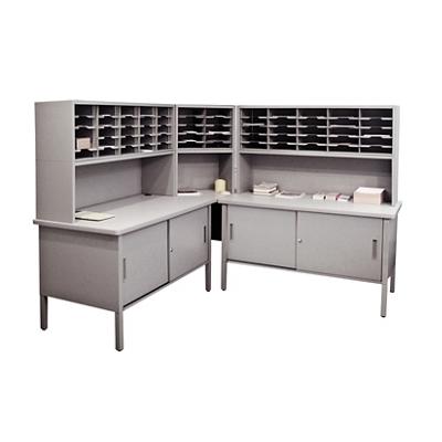 Mailroom Corner Organizer with Riser, Enclosed Cabinets, 60 Pockets