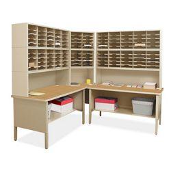Mailroom Corner Organizer with Riser, Open Storage, 120 Pockets