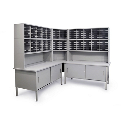 Mailroom Corner Organizer with Riser, Enclosed Cabinets, 120 Pockets