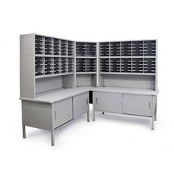 Mailroom Corner Organizer with Riser, Enclosed Cabinets, 120 Pockets