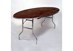 """Oval Plywood Folding Table - 60""""Dx72""""W"""