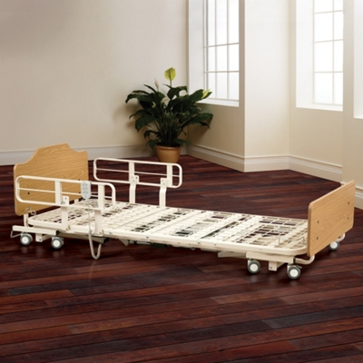"High-Low Electric Bed Frame with Boards and Assist Rails - 12"" to 23.5""H"