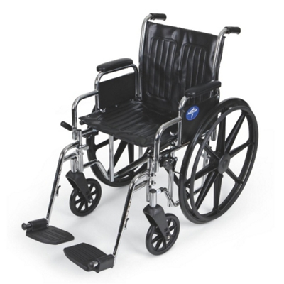 "Chrome-Framed Wheelchair with Swing Away Foot Rests - 18""W Seat"
