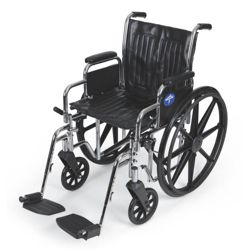 """Chrome-Framed Wheelchair with Swing Away Foot Rests - 18""""W Seat"""