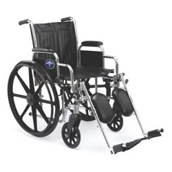 """Chrome-Framed Wheelchair with Elevating Foot Rests - 18""""W Seat"""