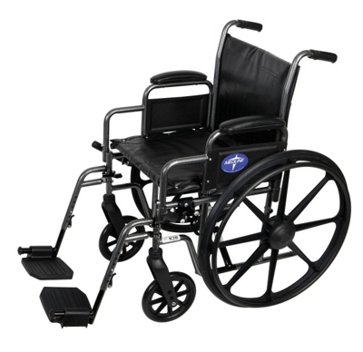 "Silver Vein Framed Wheelchair with Swing Away Leg Rests - 16""W Seat"