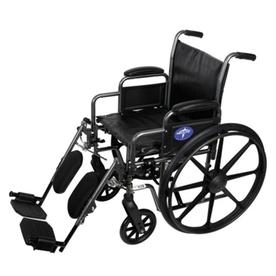 """Silver Vein Framed Wheelchair with Elevating Leg Rests - 18""""W Seat"""