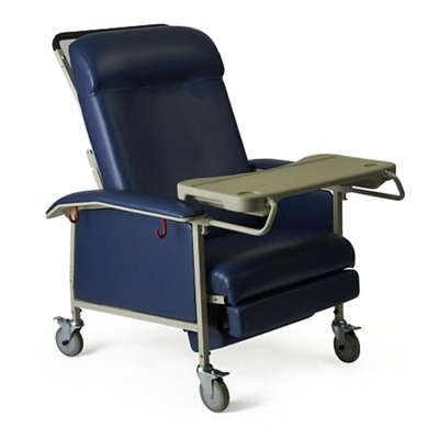 Extra Wide Mobile Patient Recliner with Adjustable Headrest