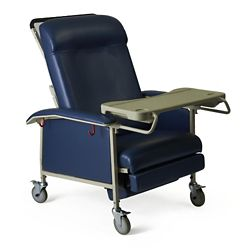 Extra Wide Mobile Patient Recliner with Adjustable Headrest and Tray
