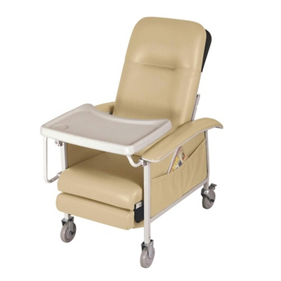 Mobile Patient Recliner with Adjustable Headrest and Tray