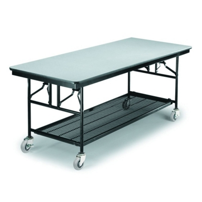 "Standing Height Mobile Folding Buffet Table - 96""W x 30""D"