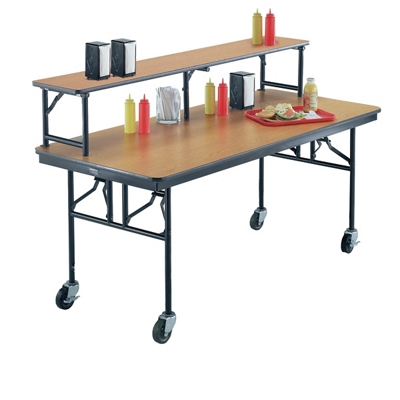 Superieur Standing Height Mobile Folding Buffet Table With Riser   72W X 30D   40009  And More Lifetime Guarantee