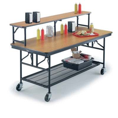 "Standing Height Mobile Folding Buffet Table with Riser - 96""W x 30""D"