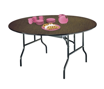"Round Plywood Folding Table with Wishbone Legs - 42"" Diameter"