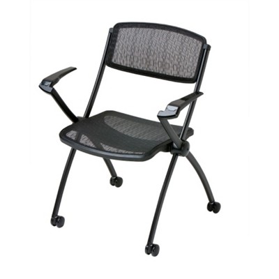Mobile Mesh Stack Chair with Arms