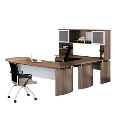 "Left U-Desk with Hutch and Extension - 91""W"
