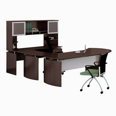 "Right Executive U-Desk with Hutch and Extension - 100""W"