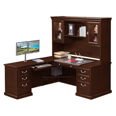 "L-Desk with Left Return and Hutch - 69""W"