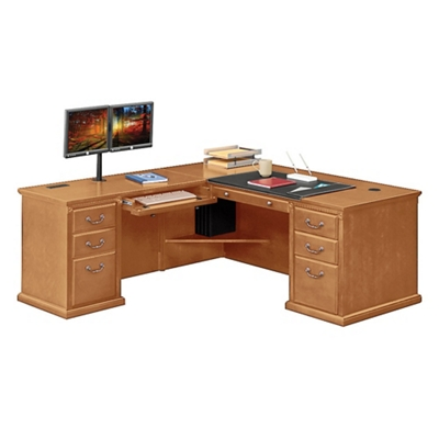 "Wheat Oak L-Desk with Left Return - 68""W"