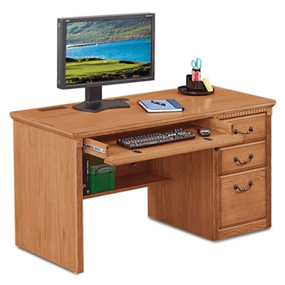 """Wheat Oak Single Pedestal Desk - 55.5""""W"""