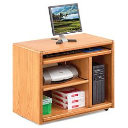 "Medium Oak Mobile Computer Cart - 37.5""W"