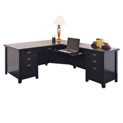 Distressed Black L-Desk with Right Return