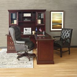 "Cumberland L-Desk with Right Return and Hutch - 72""W"