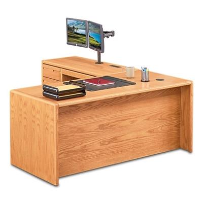 "Medium Oak L-Desk with Left Return - 68""W"