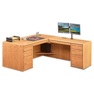 "Medium Oak L-Desk with Right Return - 68""W"