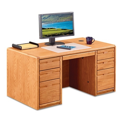 "Medium Oak Compact Double Pedestal Desk - 60""W"