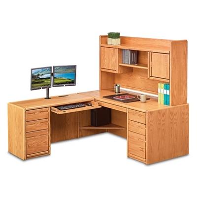 "Medium Oak L-Desk with Left Return and Hutch - 68""W"