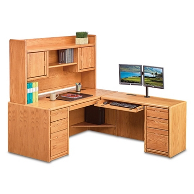 "Medium Oak L-Desk with Right Return and Hutch - 68""W"