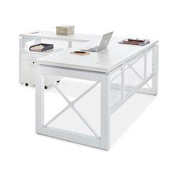 "Urban Reversible L-Desk with Pedestal - 72""W x 80""D"