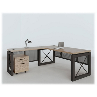 "Urban Reversible L-Desk with Pedestal - 72""W x 80""D"