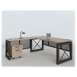"Urban Compact Reversible L-Desk with Pedestal - 60""W x 80""D"