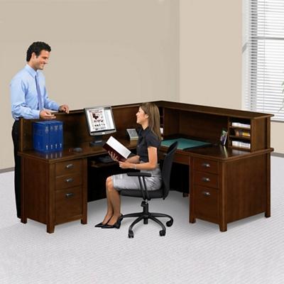 Left Return Reception L-Desk with Counter