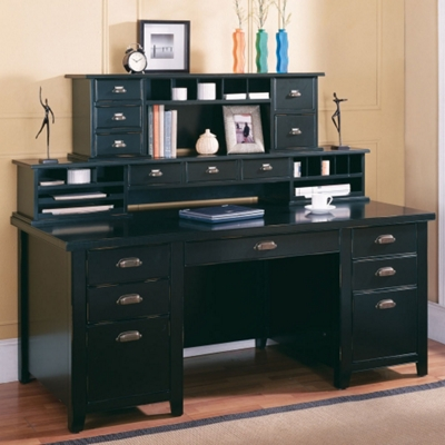Distressed Black Writing Desk with Two Hutches