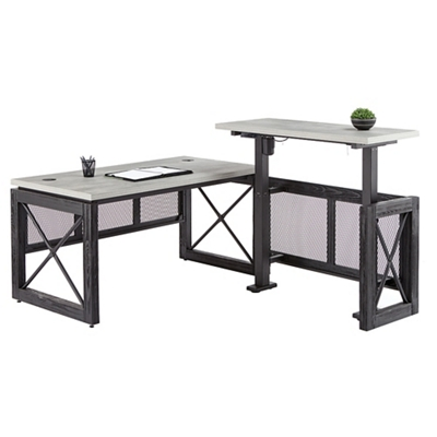 "Urban Adjustable Height L Desk with Right Return -72""W"