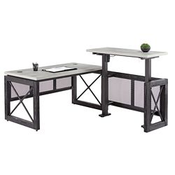 """Urban L-Shaped Desk with Adjustable Height Right Return - 60""""W"""