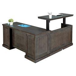Statesman Adjustable Height L-Desk with Left Return and Credenza Set