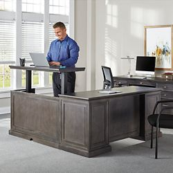 "Statesman Adjustable Height L-Desk with Right Return - 65""W"