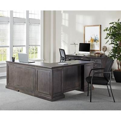 Statesman Adjustable Height L-Desk with Right Return and Credenza Set