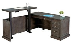 "Statesman L-Shaped Desk with Adjustable Height Left Return - 65""W"