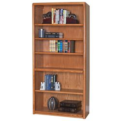 "Medium Oak Six Shelf Bookcase - 70""H"