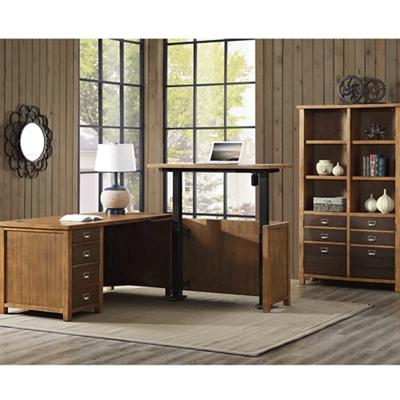 Adjustable Height L-Desk and Bookcase Set