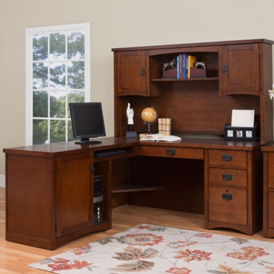 Mission Finish Left Return L-Desk with Hutch