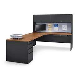 Carbon L-Desk with Hutch - Left Return