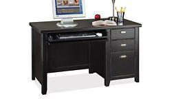 Distressed Finish Compact Single Pedestal Desk