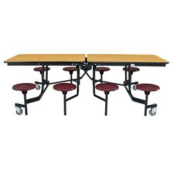 "8' Cafeteria Table with 8 Stools - 30""W x 97""D"